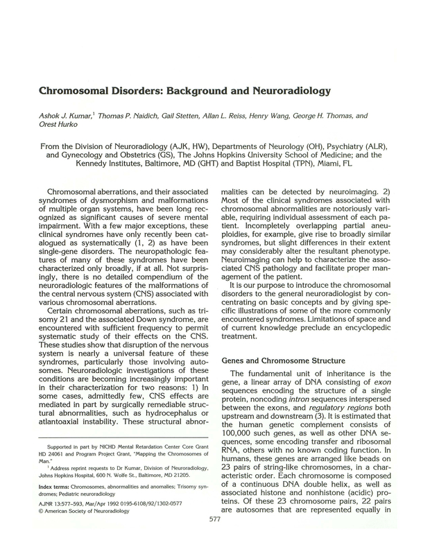 Chromosomal disorders: background and neuroradiology