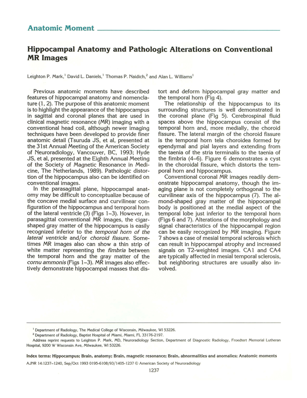 Hippocampal Anatomy And Pathologic Alterations On Conventional Mr